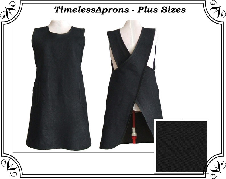 Plus size Apron 8 oz. Black Denim Apron No Tie Apron Cross image 0