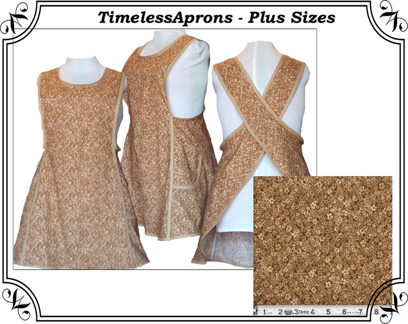 Plus size Aprons No Tie Apron  Brown and Tan Calico  Made image 0