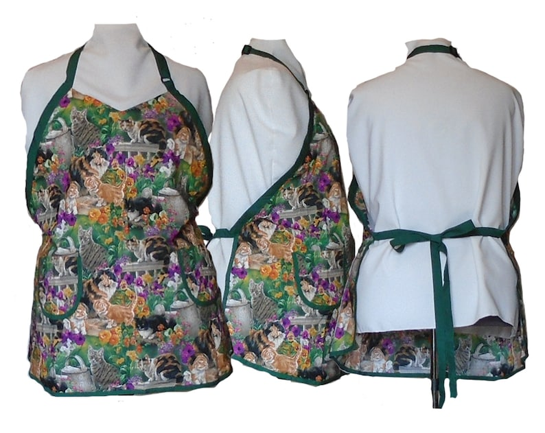 Plus Size Apron Women's Apron  Cats and Flowers  Full image 0
