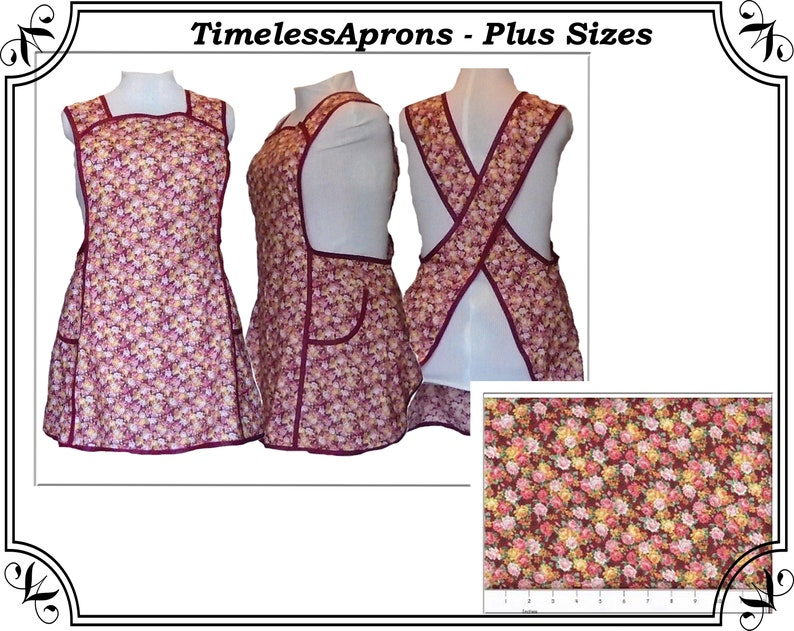 Plus size Apron Cross back Apron Country Roses calico on image 0