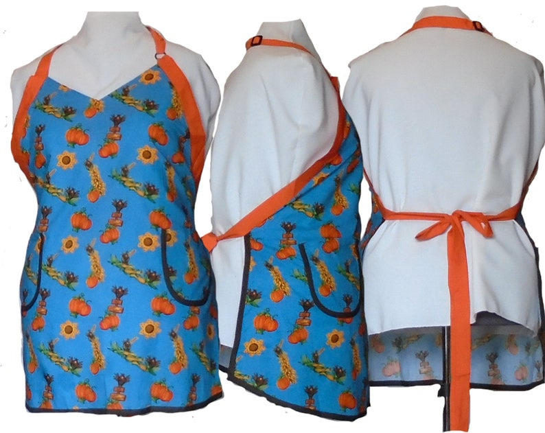 Plus Size Apron Autumn Orange Pumpkins and Sunflowers on Blue image 0