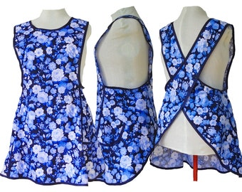 Plus Size Apron, No Ties Crossback Apron - Navy with Blue & White Rose - Style 122 only - Already Made Size 2XL only