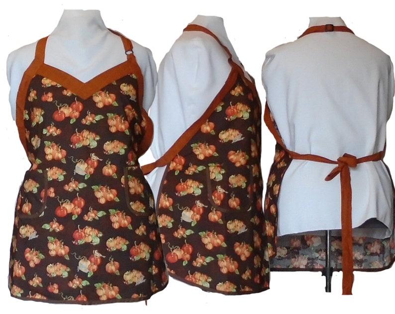 Plus Size Apron Autumn Fall or Thanksgiving apron Pumpkins image 0