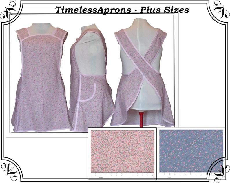 Plus Size Apron No Tie Cross back Apron Country Floral Pink image 0