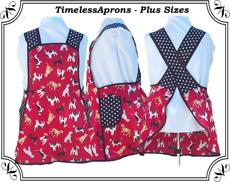 Plus Size Apron Crossback No Tie Apron Dogs on Red with image 0