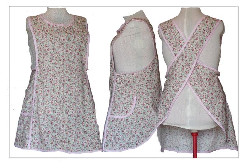 Plus size Aprons No Tie Apron  Cross back Apron  Pink Roses image 0