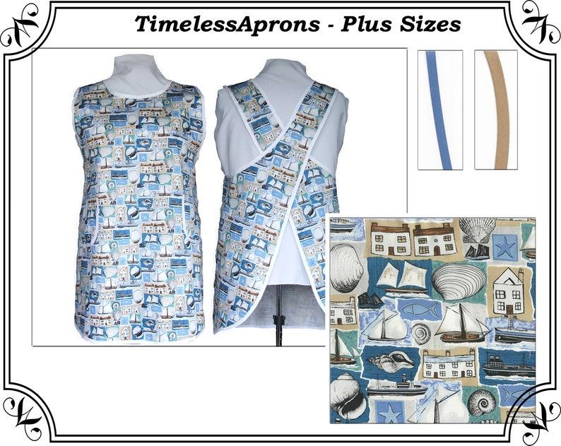 Plus Size No Tie Apron  Nautical Cotton Twill Blue Tan and image 0