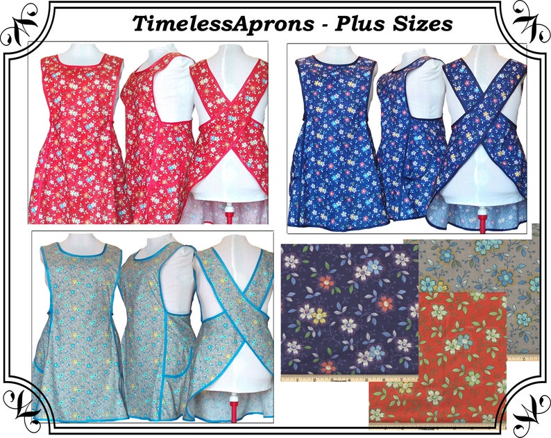 Plus Size Apron Turquoise Happy Flowers on Red Blue or Gray image 0