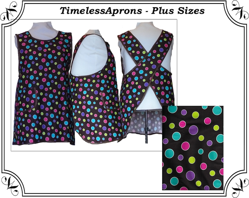 Plus size Apron Cross Back Apron Brown with Bright Dots  image 0