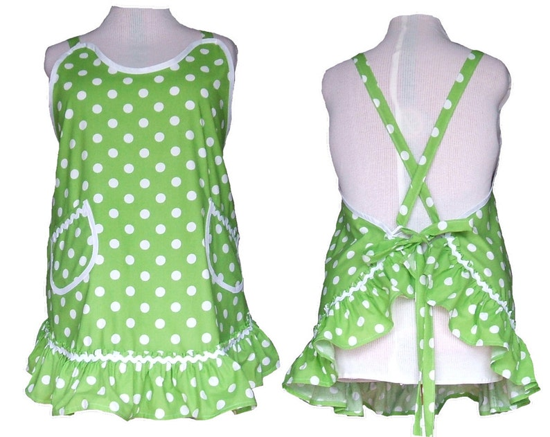 Plus size Aprons  Flirty Ruffled Apron  Lime Green with image 0