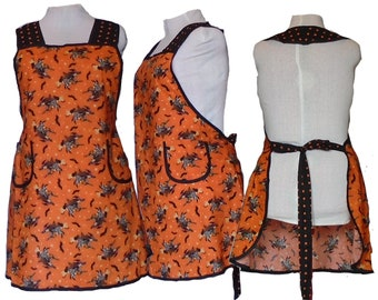 Full Figure Kitchen Apron, Halloween Kitchen Witch and Polka Dots,  Sizes 2XL - Already Made, Ready to mail