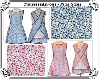 Plus size Apron, Cross back apron, No Tie Apron, Blue or Red Cotton Calico Apron #122  - Made to Order Sizes XL, 2X, 3X, 4X