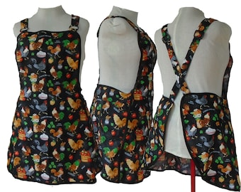 Plus size Apron, Cross Back No Tie Apron - Chickens and Farmers Market -Style #120- Size B (XL, 2XL) - Already Made