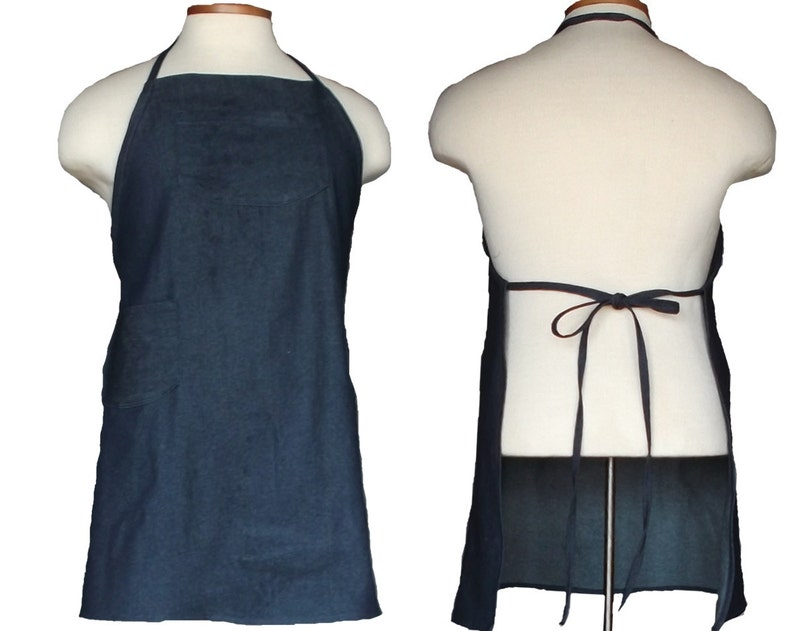 Denim Apron Plus Size Apron Big and Tall Chef's Style image 0