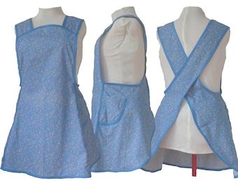 Plus Size Apron, No Tie Cross back Apron, Blue Calico - Style 121 - Already Made, Size 2XL