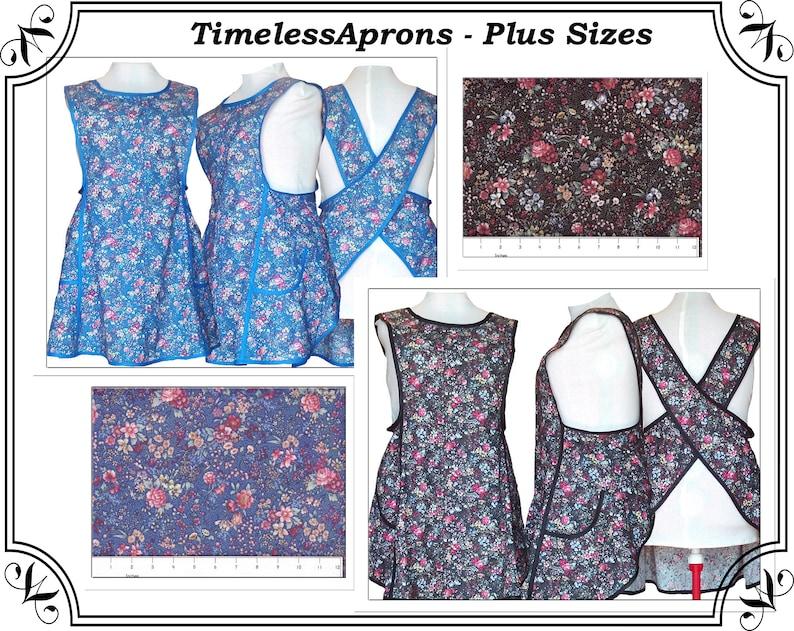 Plus Size Apron No Tie Cross back Apron with Pretty Flowers image 0