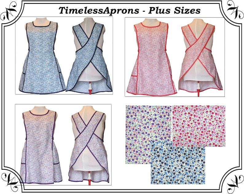 Plus size Apron Cross back apron No Tie Apron Blue Red image 0