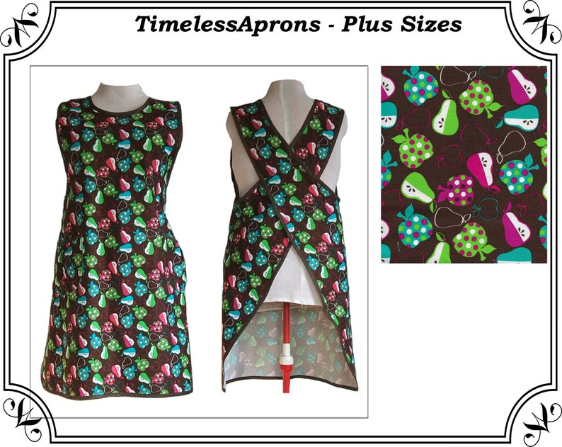 Apron Plus Size  No tie Crossback Apron  Apples and Pears image 0
