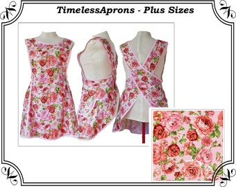 Plus size Apron, Crossback No Tie Apron, Rose Bouquet in a Cross back apron - Made to Order - XL, 2X, 3X, 4X, 5X