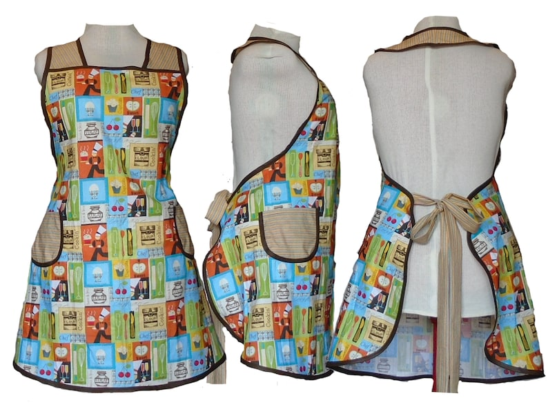 Plus Size Apron Kiss the Cook Apron  Full Figure Kitchen image 0