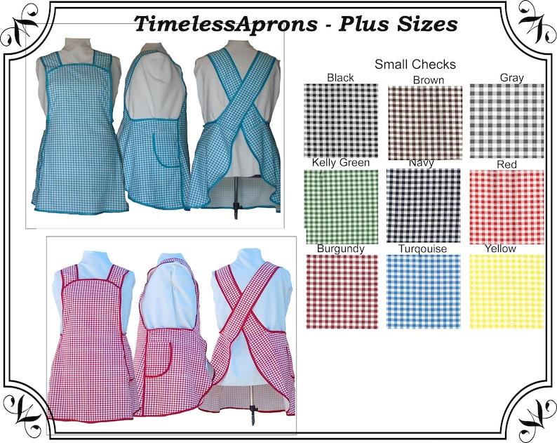 Plus Size Apron Cross back Apron Small Checks Choice of image 0