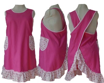 Plus Size Apron, Pink Twill Apron with Strawberry Ruffles, No Tie Apron - Size 2XL - Ready to Mail