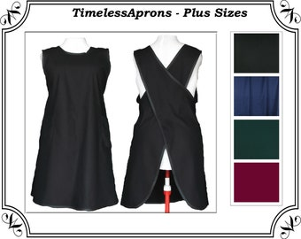 Plus size Cross back Apron, Permanent Press  7 oz Twill Black, Navy, Forest, or Wine #123 - Made to Order Size L to 4X