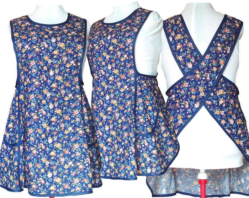 Cottagecore Clothing, Soft Aesthetic Plus size Apron Cross back No Tie Apron - Country Flowers on Navy or Black #122 - Made to Order sizes XL 2XL 3XL 4XL $56.00 AT vintagedancer.com