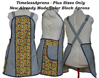 Plus Size No Tie Apron - OOAK Color Block - Sunflowers and Navy Checks - Size XL/2X  Already Made