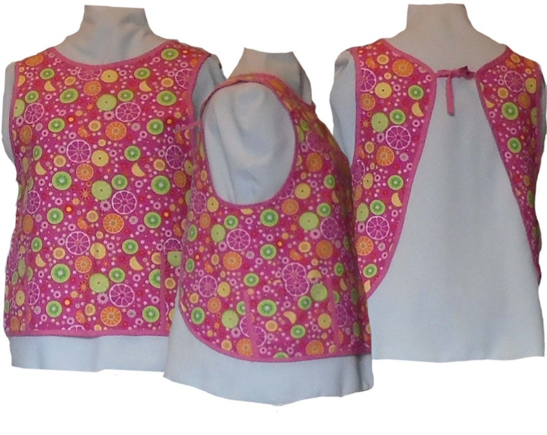 Apron Plus Size Smock  Bright Pink with Citrus Slices  image 0