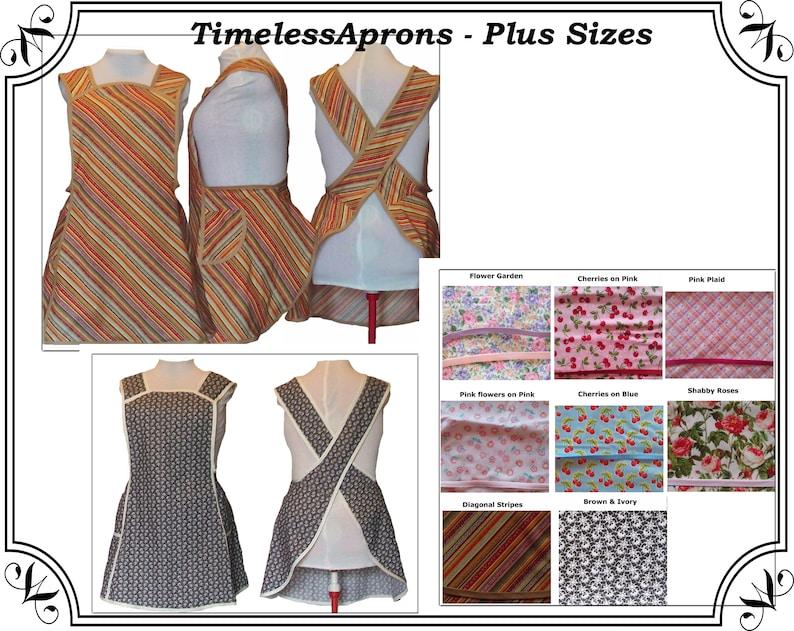 Plus size Apron No Tie Apron Choice of Fabric Cherries image 0