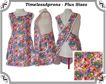 Plus size Apron, Crossback No Tie Apron, Summer Flowers in a Cross back apron - Made to Order - XL, 2X, 3X, 4X, 5X