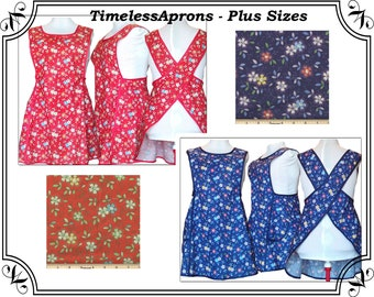 Plus Size Apron, Happy Flowers on Red or Blue - Choice of Styles - Made to Order - Sizes XL, 2X, 3X, 4X