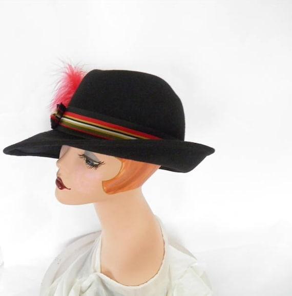 Black fedora hat, vintage woman's Fabini, 1960s 1… - image 3