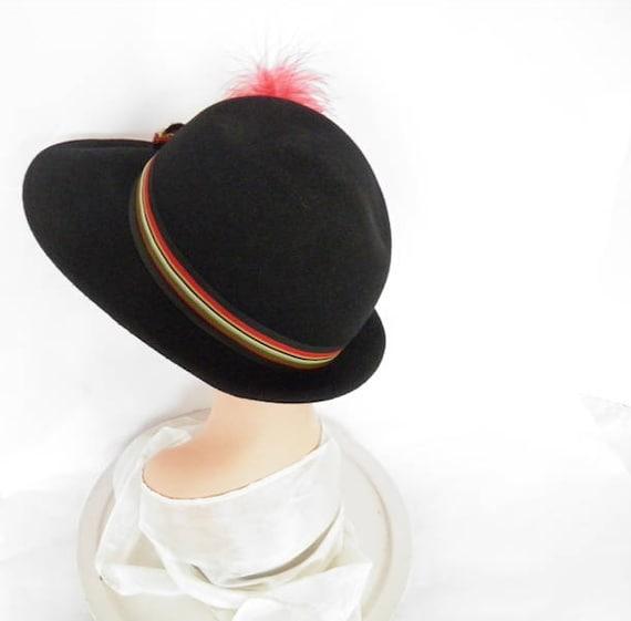 Black fedora hat, vintage woman's Fabini, 1960s 1… - image 5