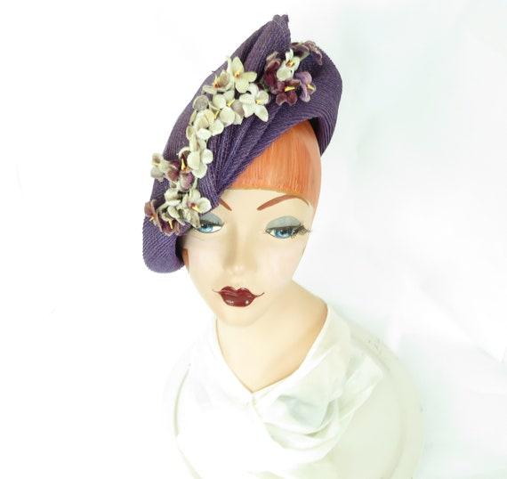 Purple vintage hat, 1940s tilt fascinator, woman's