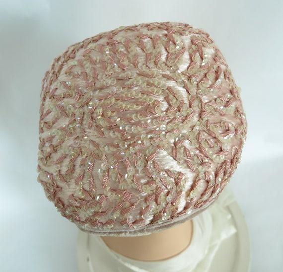 Vintage pink hat, woman's 1950s cocktail hat, seq… - image 10
