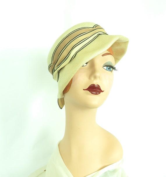 1960s vintage hat, women's straw summer tilt, mid… - image 7