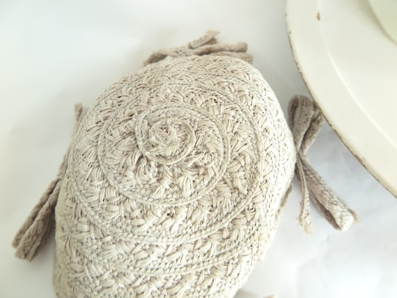 1930s calotte hat, vintage gray straw, woman's Ju… - image 10