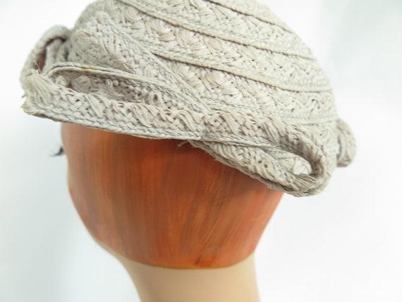 1930s calotte hat, vintage gray straw, woman's Ju… - image 8