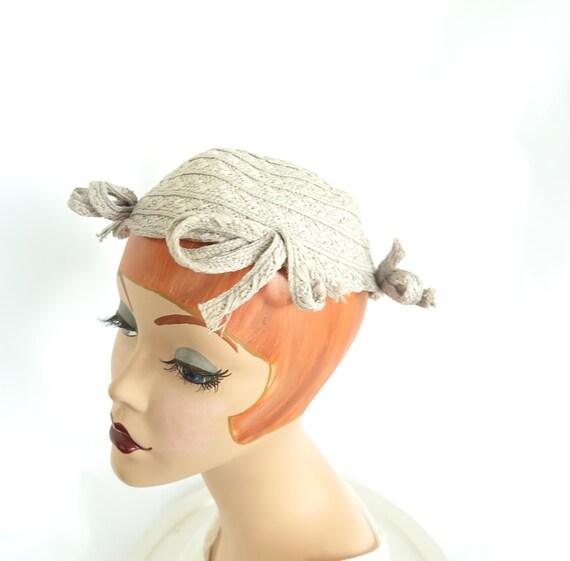 1930s calotte hat, vintage gray straw, woman's Ju… - image 5