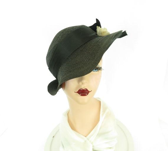 vintage 1930s hat,  fedora tilt slouch, black with