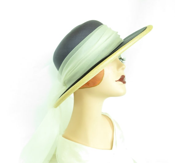 Vintage straw hat, woman's blue summer 1970s hat,… - image 2