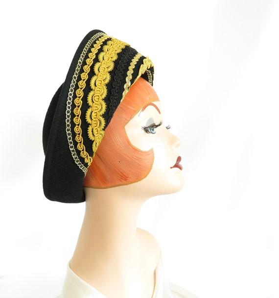 Vintage black hat, gold trim, woman's Breton style