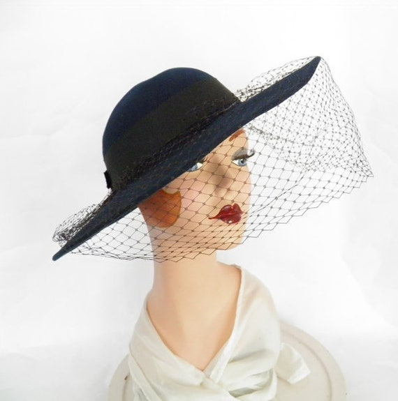 53bbfd86c0569 Blue vintage hat woman s wide brim with veil navy blue.