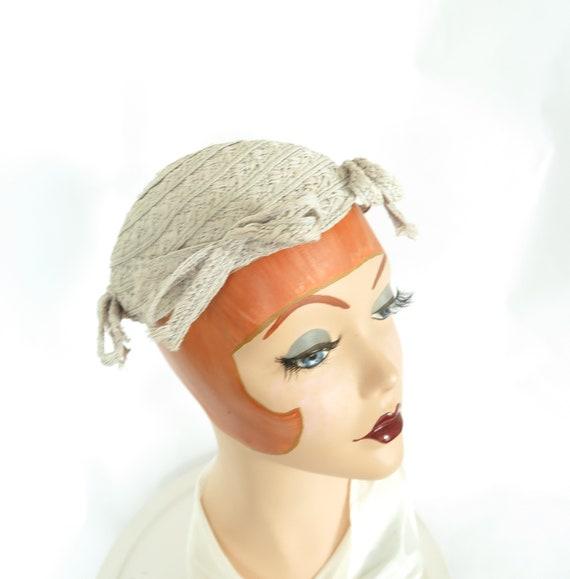 1930s calotte hat, vintage gray straw, woman's Ju… - image 6