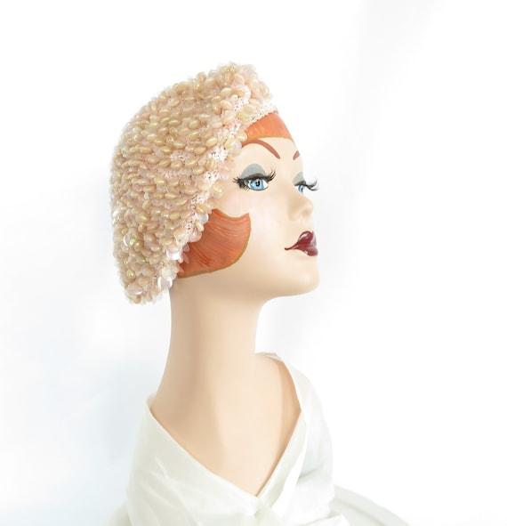 Pink beret hat, vintage 1960s tilt, woman's tam ex