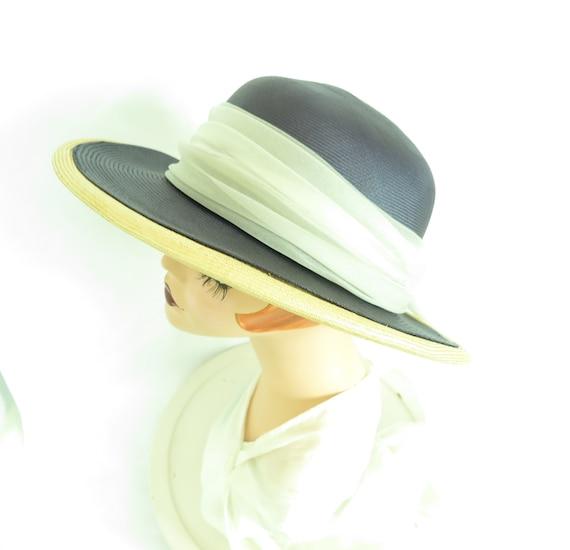 Vintage straw hat, woman's blue summer 1970s hat,… - image 7
