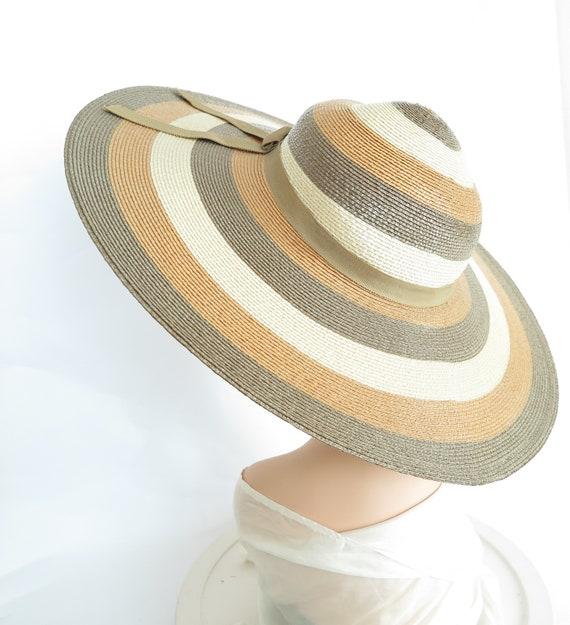 Vintage straw hat, woman's Bellini, tan brown wide
