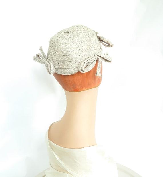 Gray calotte hat, vintage 1930s straw, woman's gra